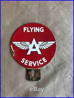 Vintage Flying A Gasoline Oil Co Service Porcelain Car Ad License Plate Topper