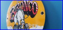 Vintage Ford Automobile Porcelain Gas Bronco Service Pump Plate Sign