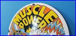 Vintage Ford Automobile Porcelain Muscle Power Service Shelby Gas Pump Sign