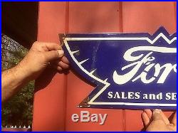 Vintage Ford Car Auto Motor Oil Gasoline Porcelain Wings Metal Sign Gas Oil