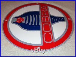 Vintage Ford Cobra Mustang Car Snake 11 3/4 Porcelain Metal Gasoline & Oil Sign