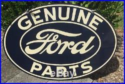 Vintage Ford Genuine Parts Double Sided Metal Sign 1940's Parkersburg WV Dealer