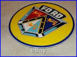 Vintage Ford Jubilee Cars & Trucks 11 3/4 Porcelain Metal Gasoline & Oil Sign