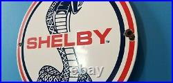 Vintage Ford Motor Co Porcelain Gas Automobile Service Shelby Gt Pump Plate Sign