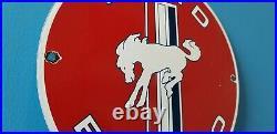Vintage Ford Motor Co Porcelain Gas Bronco Service Mustang Dealership Pump Sign