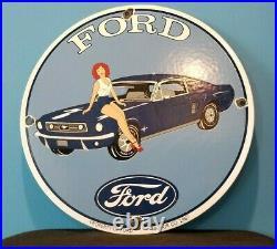 Vintage Ford Motor Co Porcelain Gas Service Mustang Auto Gasoline Pump Sign