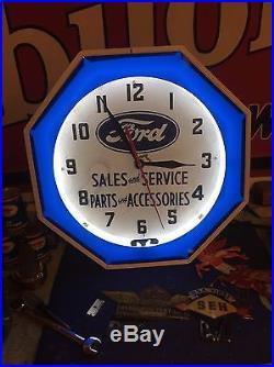 Vintage Ford Sales & Service Neon Clock Wayne Curtis Art Deco Dealership Fomoco