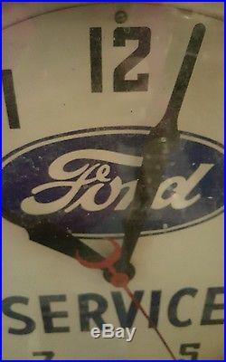 Vintage Ford Sales &Service Neon Clock, octagon 1930s-40s