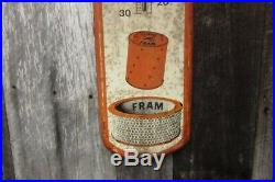 Vintage Fram Oil Filters Advertising Thermometer Gas Car Auto 39 Inch Metal Sign