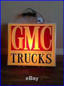 Vintage GMC Trucks Lighted Advertising Sign Lamp from a Dealership double sided