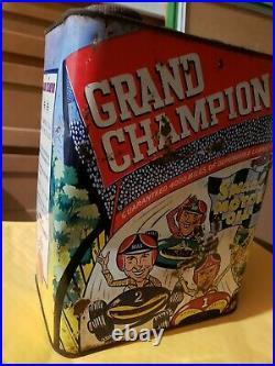 Vintage GRAND CHAMPION 2 Gallon Oil Can Race Car Can RARE