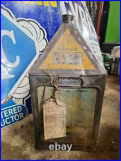 Vintage Gamages Motor Oil 5 Gallon Pyramid Can Automobilia Motoring Collectable
