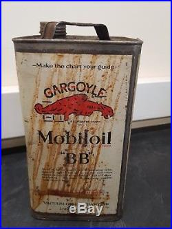 Vintage Gargoyle Mobiloil BB Lubricating Oil Can Tin Petrol Garage Workshop
