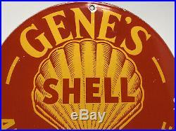 Vintage Gene's Shell Gas Station Porcelain Sign Auto Service Motor Oil Gasoline