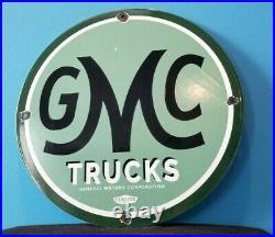 Vintage General Motors Porcelain Gas Automobiles Trucks Gmc Sales Service Sign
