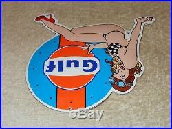 Vintage Gulf Gasoline Bikini Pin Up Model! 7 Porcelain Metal Car Gas & Oil Sign