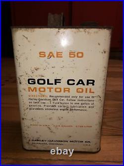 Vintage HARLEY DAVIDSON Golf Car 1 Gallon Motor Oil Can