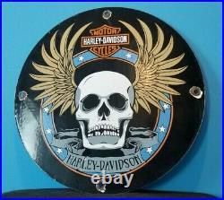 Vintage Harley Davidson Motorcycle Porcelain Gas Auto Bike Sales Service Sign