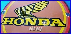 Vintage Honda Automobiles Porcelain Gas Motorcycles Sales Service Dealer Sign