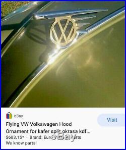 Vintage Hood Ornament 40s VW Volkswagen FLYING ROCKET Oval Split Bug Accessory