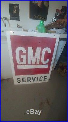 Vintage Huge 41 RARE GMC truck Sales Service Car Dealer Oil Gas Porcelain Sign
