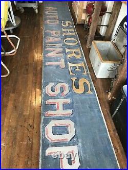 Vintage Huge Smalts Metal Sign Auto Paint Shop 2 Piece Early Original Salvaged