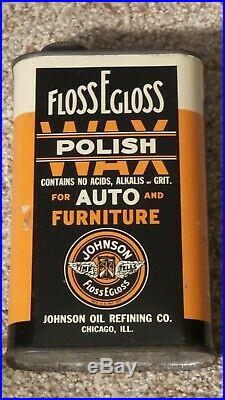 Vintage Johnson FLOSS EGLOSS Car Polish Wax Auto/Furniture Oil Can FULLMINTY