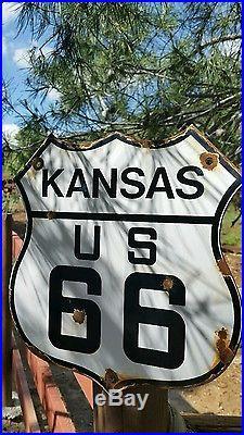 Vintage Kansas Route u. S. 66 Highway Motor Car porcelain road sign