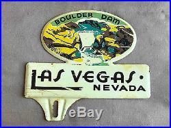 Vintage Las Vegas Boulder Dam Nevada Souvenir Car License Plate Topper
