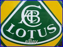 Vintage Lotus Sports Car 11 3/4 Porcelain Metal Truck, Motors Gasoline Oil Sign