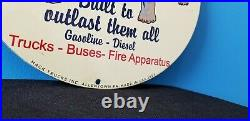 Vintage Mack Trucks Inc Porcelain Gas Diesel Auto Sales Service Dealership Sign