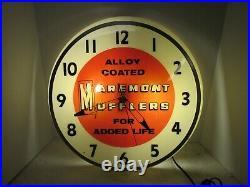 Vintage Maremont Muffler Lighted Clock Sign, Vintage Muffler Clock