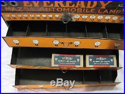 Vintage Mazda Eveready Automobile Lamps Light Bulb Case Display Ad Auto Garage