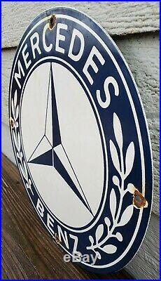 Vintage Mercedes Automotive Dealer Porcelain Sign Sports Car