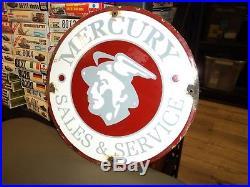 Vintage Mercury Sales & Service Sign 11 Round Porcelain Gas Oil Original Car