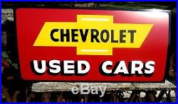 Vintage Metal Chevy CHEVROLET USED CARS Truck Gas Oil 36 Car Auto Sales Sign