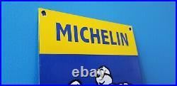 Vintage Michelin Tires Porcelain Gas Bibendum Service Auto Chevrolet Ford Sign