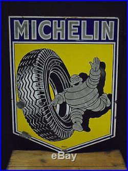 Vintage Michelin tyres enamel garage sign Alfa Romeo Jaguar Lancia Ferrari