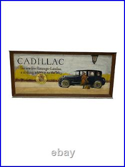 Vintage Mixed Media Cadillac Landau Fan Art Hand Painted Cadillac Advertisement