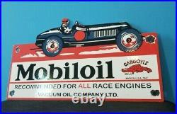 Vintage Mobil Gasoline Porcelain Race Car Service Station Pump Gargoyle Sign