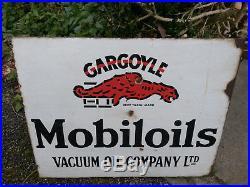Vintage Mobile Oil Vacuum Oil Company Gargoyle Old Porcelain Enamel Sign Rare