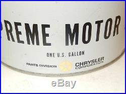 Vintage Mopar Supreme Motor Oil 1 Gallon Full Metal Can Rare HTF Car NOS Auto