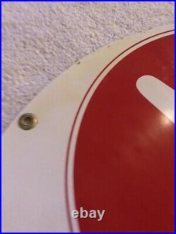 Vintage NOS Kendall Oil Sign Round 24 White Red Advertising Gas Oil Car Garage