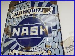 Vintage Nash Original Porcelain Sign Original 1940s Large Nash Lafayette