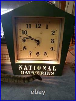Vintage National Batteries Electric Auto Gas Oil Advertising Spinner Clock