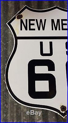 Vintage New Mexico Route NM US 66 Highway motor car porcelain road sign