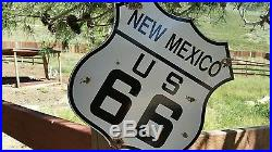 Vintage New Mexico Route u. S. 66 Highway Motor Car porcelain road sign