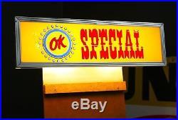 Vintage OK SPECIAL Chevrolet Original Car Dealership Lighted Glass Sign RARE