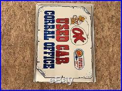 Vintage OK Used Car Corral Metal Flange Sign Not Porcelain Gas Oil Ford Chevy