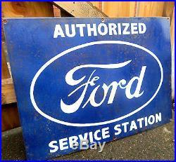 Vintage OLD ENAMEL Ford Service Station SIGN ADVERTISING HIGHLY RARE Motor CAR